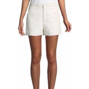Brusha Mid-rise Leather Shorts - White Joie Short